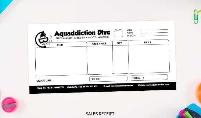 Aquaddiction Sales Receipt